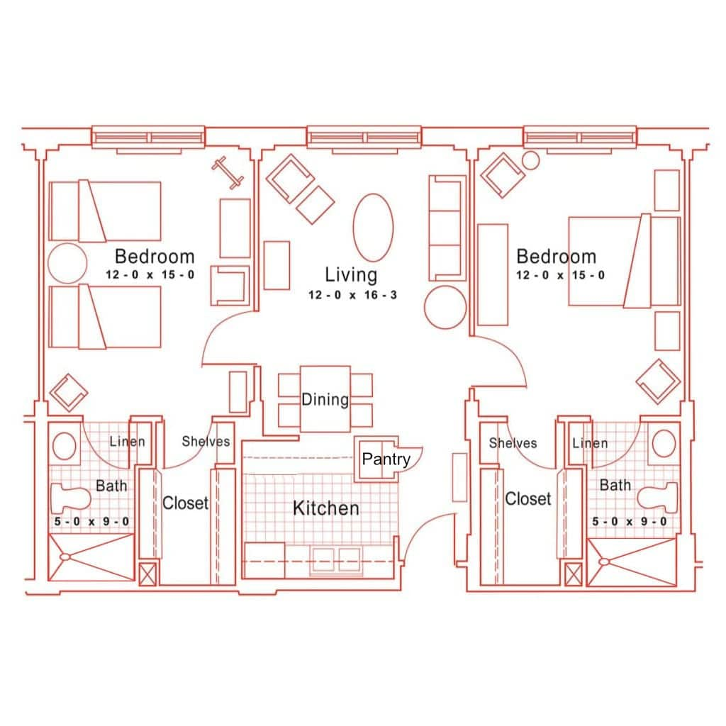 Assisted Living Two Bedroom Floorplan